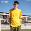 Village Roadshow viishow воротник хеджирование с короткими рукавами футболки мужчин Тонких писем напечатаны мужчинами короткой футболки TD19111721 желтым XXL