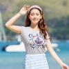 Semir футболка с короткими рукавами майка женская летняя одежда нижняя рубашка шею трехмерная печать 10215000550 светло-серый l