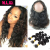 360 Lace frontal With hair bundles Body wave Brazilian Virgin human Hair bundles with frontals 22x4x2 lace frontal with 3 hair 100% brazilian hair lace frontal with body wave hair bundles 3pcs virgin hair swiss lace frontal colsure with hair extensions