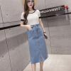 Лонгвью женские джинсовые юбки разделить Burr дикое высокие карманы бедра в светло-синем платье LWQZ173309 L юбки argent юбки женские