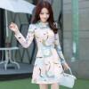 цена Ах Sin корейский темперамент был тонкий отворотом Тонкий слово юбка длинный абзац с длинными рукавами платье печати женщина zx150909 розовый XXL онлайн в 2017 году
