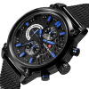 BHOLI SI 8208 Мужские хронографы Кварцевые часы с дисплеем даты Черный стальной ремешок для часов