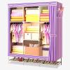 Красивый дом простой гардероб ткани шкаф многофункциональный гардероб стальная труба 136S с обуви стойки фиолетовый бар женский гардероб
