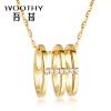 все цены на Wu Xi (WOOTHY) желтого золота 18 карат алмазов кулон с бриллиантами K золота кулон ожерелье онлайн