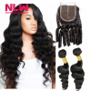 Best Quality 8a Grade loose wave Malaysian lace frontal closure with 2 bundles human hair weave 100% human hair Weft 3pcs/Lot