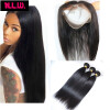 360Lace frontal With 4 pcs weft hair bundles.22x4x2 Brazilian Virgin human Silky Straight Hair 360 lace frontal with hair bundle 7a none full lace human hair wigs short straight glueless unprocessed virgin brazilian lace front wig black women