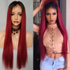 New 150 Density Lace Front Wig Brazilian Virgin Glueless 1b/red Ombre Full Lace Human Hair Wigs With Baby Hair Free Shipping n light p 514 1 satin chrome