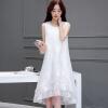 Yutang утро 2017 летнее платье большой размер женщин простой и свободной без рукавов длинная юбка S62A0589A7M белый M утро m