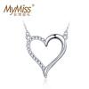 Mymiss женский короткий параграф ключицы 925 посеребренные платины кулон ожерелье корейской форме сердца ювелирные изделия Lianrenweiman