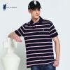 POLO SPORT рубашки поло мужской с коротким рукавом футболки рубашки поло отворот вскользь дела полосатая футболка темно-синий M 72LG05773