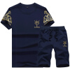 lucassa короткий рукав футболка костюм мужской круглая шея футболка шорты шорты вскользь короткий рукав костюм мужской D26 темно-синий XL