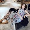 Милан Инь (MILANYIN) небольшой свежий цветок цветочные юбка плиссе шифон воротник платья ML130 свет летом 2017 года Корейский женский синий M принцесса летом 2015 года корейский женский цветочная мозаика детская одежда ребенка ребенка рукавом платье юбка qz 1771