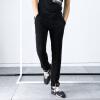 YOMS мужские случайные брюки мужчины спортивные брюки хлопка прямой сплошной цвет ткани носили приток мужчин спортивные брюки 02262 черный XL180