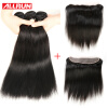 Allrun Ear To Ear 13*4 Size Lace Frontal Closure With Bundles 3 Pcs Brazilian Straight Hair Brazilian Virgin Hair With Frontal цена и фото