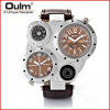 OULM 9415 Multiple Time Zone Japan Quartz Movement Men Sport Thermometer Compass Decoration Leather Strap Oulm Military Watch dual time zone thermometer watch compass watch dual movt quartz watch for men oulm 1169