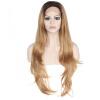 Anogol Ombre Blonde Волнистые темные корни термостойкие волокна природных парики Синтетические кружева фронта парик ботинки синтетические