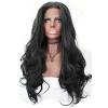 Anogol черный Glueless Синтетический парик шнурка фронта Natural Hairline Long Body Wave Теплостойкие Волоконно париков anogol glueless синтетический парик фронта шнурка long body wave brown high temperature теплостойкие волоконно париков