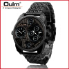 OULM Brand Men's Fashion Sports Stainless Steel Double Movement Classic Vintage Quartz Watch Multiple Time Zone brand oulm men watch stainless steel strap japan movt quartz watch multiple time zone militar sports watches relogios masculino