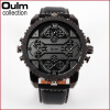 Fashion Quartz Luxury Brand OULM Watches 4 Time Zone watches Men Leather Military Watch for Men Wristwatches Relogio Masculino brand oulm men watch stainless steel strap japan movt quartz watch multiple time zone militar sports watches relogios masculino