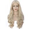 Anogol Blonde Long Body Wave Glueless жаропрочных волоконных натуральных волос Парики синтетические кружева фронта парик anogol short straight bob lace front wig blonde glueless жаропрочные синтетические парики для волос