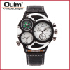 OULM Brand Watches Men Luxury Top Quartz-watch 3 Dials Vintage Military Wristwatch Male Leather Clock relogio masculino oulm multi function 3 movt quartz leather wristwatch men military sports watch