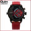 3130 Oulm Men Watches with Double Movt Leather Band Quartz Men  Watches Military Watch oulm brand adventure men s quartz military watches with dual movt compass