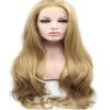 Anogol Blonde Long Body Wave Guleless Handmade Жаропрочные парики для волос Синтетические кружевные передние парики anogol short straight bob lace front wig blonde glueless жаропрочные синтетические парики для волос