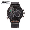 OULM Brand Watches Men Luxury Top Quartz-watch 3 Dials Vintage Military Wristwatch Male Leather Clock relogio masculino oulm 3597 male quartz watch dual movt multifunctional wristwatch