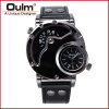 OULM Russian Army Military Dual Time Movement Mens Leather Quartz Wrist Watch 9591 oulm 1349 men s dual movement sports military watch with compass