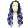 Anogol Long Body Wave Blue Mix White Ombre Черные корни, термостойкие парики для волос, синтетический кружевной передний парик часы long wave
