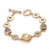 Yoursfs @ Красочные австрийские кристаллы ювелирных изделий Браслет женщин 18K розового золота позолоченный шарм браслет браслет моды CZ браслет Gi