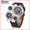 OULM 9415 Multiple Time Zone Japan Quartz Movement Men Sport Thermometer Compass Decoration Leather Strap Oulm Military Watch 2017 luxury men s oulm watch sport relojes japan double movement square dial compass function military cool stylish wristwatches
