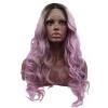 Anogol 3 тоны Gray Mix Фиолетовый Ombre Dark Roots Long Body Парик Wave Синтетические парики фронта шнурка фиолетовый панк парик uni