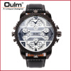 Fashion Quartz Luxury Brand OULM Watches 4 Time Zone watches Men Leather Military Watch for Men Wristwatches Relogio Masculino oulm 9415 original brand watches for men dual time compass quartz watch relogio militar masculino grande montre homme boussole