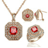 Yoursfs Indian Luxury Jewelry Sets,18K Rose Gold Plated Bling Cocktail Jewelry,Square Red Crystal Pendant Necklace & Earrings & Ha yoursfs heart necklace for mother s day with round austria crystal gift 18k white gold plated