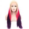 Anogol Blonde Ombre Rose Mix Фиолетовый Синтетический парик фронта шнурка натуральных волос Длинные прямые парики три тоны фиолетовый панк парик uni