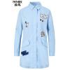 Semir (Semir) длинный участок г-ж простой печати рыхлой куртки случайной ветровки Корейского 13316090011 темно-синий S
