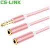 Фото CE-LINK 2436 одноминутный наушник микрофон аудиокабель DC3.5 с пшеницей 0,2 метра наушник удлинитель компьютер гарнитура микрофон адаптер кабель розовое золото наушник