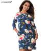 COCOEPPS Цветочные печати женщин платья 2017 Большой размер Мини платье летом Плюс Размер Женщины Одежда Элегантное платье L-6XL платье fiona ferrari платья и сарафаны мини короткие