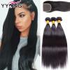 yyong волосы прямо с закрытием бразилии волос прямо с закрытием 8а бразильских Virgin 3 Bund человеческий волос, ткать на полную к