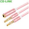 CE-LINK 2432 один пункт два наушников расширения аудио линейного кабель 0,оГО 3,5 стерео аудио кабель для наушников Разветвителя телефонного кабеля аудио розового золота таблетки аудио кабель vovox link protect s200 trs xlrm