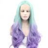 Anogol 2 тонов Body Wave Mint Green Ombre Фиолетовый термостойкий натуральный парик синтетический кружевной передний парик kylie jenner style ombre mint green