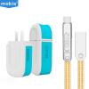 Moxi (mokis) тройной кабель для кабеля из цинкового сплава (1 метр Tu Hao gold + 2.4A двухпортовый зарядное устройство) зарядное устройство для мобильного телефона / зарядное устройство для мобильного телефона