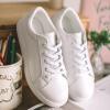 Как Hee Ракси Уайт кожаные ботинки женщин обувь Корейский плоские ботинки круглые ботинки кружева белый 38 ботинки