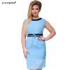 COCOEPPS L-6XL зеленые женщины платья больших размеров NEW 2017 плюс размер одежды платье случайный о-шею офис bodycon платье