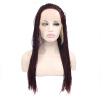 Anogol Braids Twist Handmade Burgundy Glueless Heat Resistant Hair Natural Wigs Lace Synthetic Front Wig