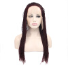 Anogol Braids Twist Handmade Burgundy Glueless Heat Resistant Hair Natural Wigs Lace Synthetic Front Wig cheap body wave heat resistant red lace front wig synthetic with baby hair natural hairline for fashion white black women