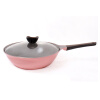 Neoflam Aeni Ceramic Wok No Sticky Cooker No Fry Cooking Pot Pot Induction Cooker Universal Kitchenware EC-AN-W28I Pink 28CM