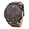 Oulm New Arrive Double Time Zone Sports Watches Men Luxury Brand PU Leather Big Wristwatch Male Quartz Watch relojes hombre oulm mens top luxury brand tag watches casual leather strap wristwatch double time zone japan movt quartz watch male clock