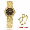 Роскошные модные женские часы моды Rhinestone наручные часы женщин кварцевые часы с кольцом роскошные золотые часы женские кварцевые стальные наручные часы повседневные женские наручные часы женские часы